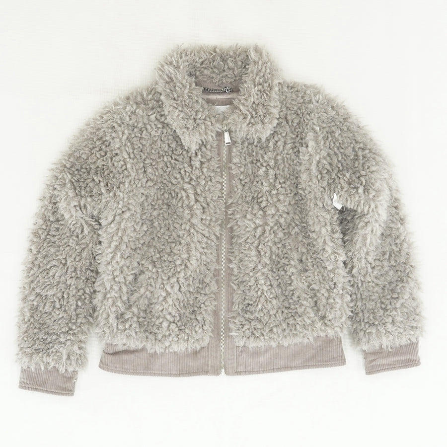 Faux Fur Collared Zip-Up Jacket - Size M