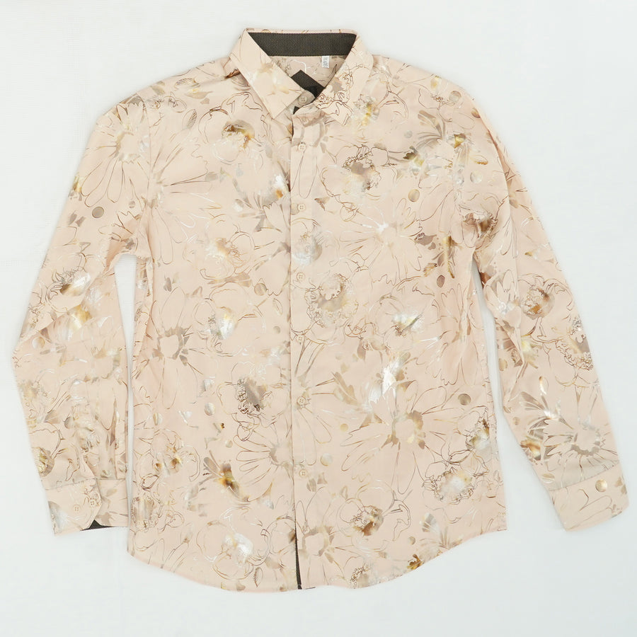 Rose Gold Flowered Button Down Shirt Size M