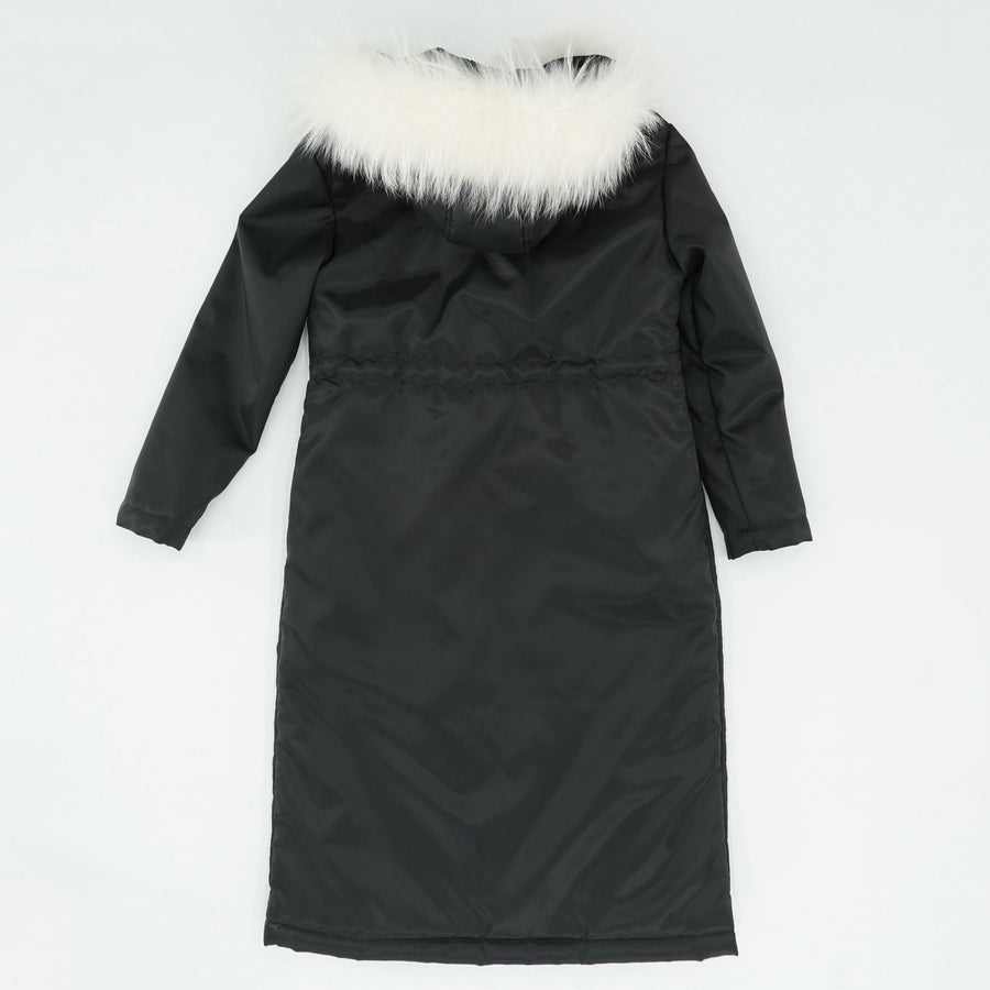 Fur-Trim Hooded Long Draw-String Waist Coat Size M