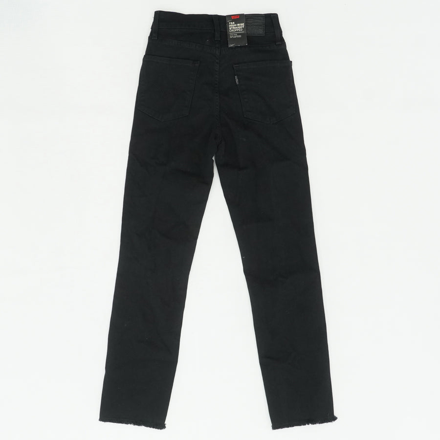Black High-Rise Straight Cropped Jeans Size 23