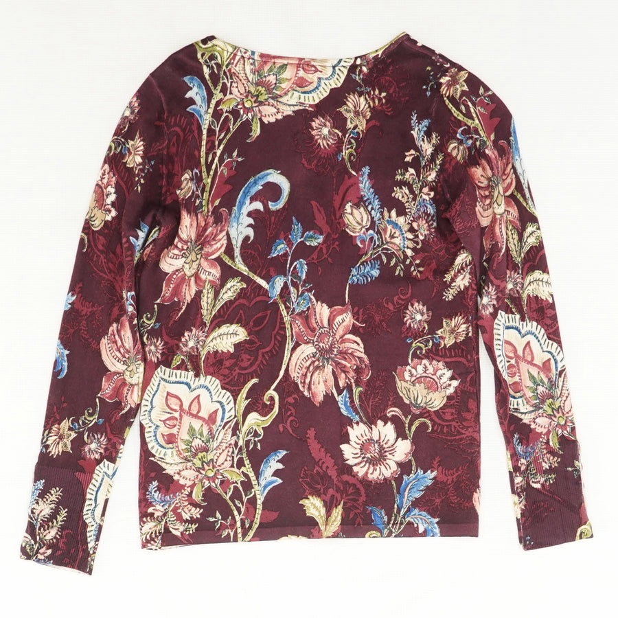 Floral Button-Sleeve Pullover Sweater Size 00