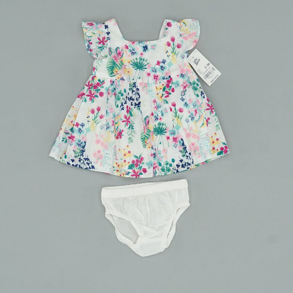 Floral Flutter Sleeve Top With Bloomers Size 0-3 Months