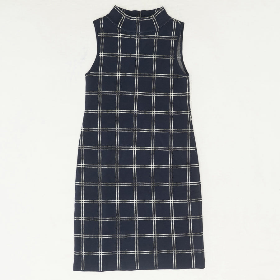 Big Check Mock Neck Midi Dress Size S