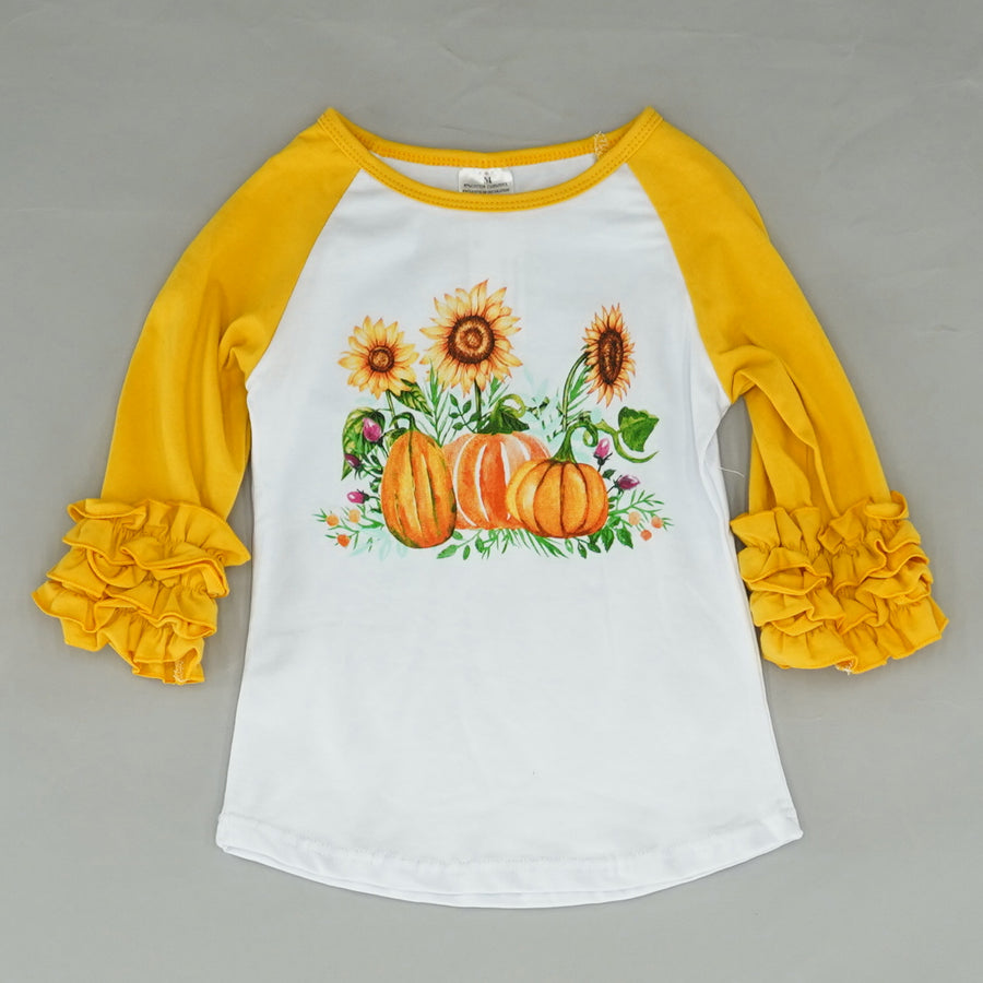 3/4 Sleeve Sunflower T Shirt