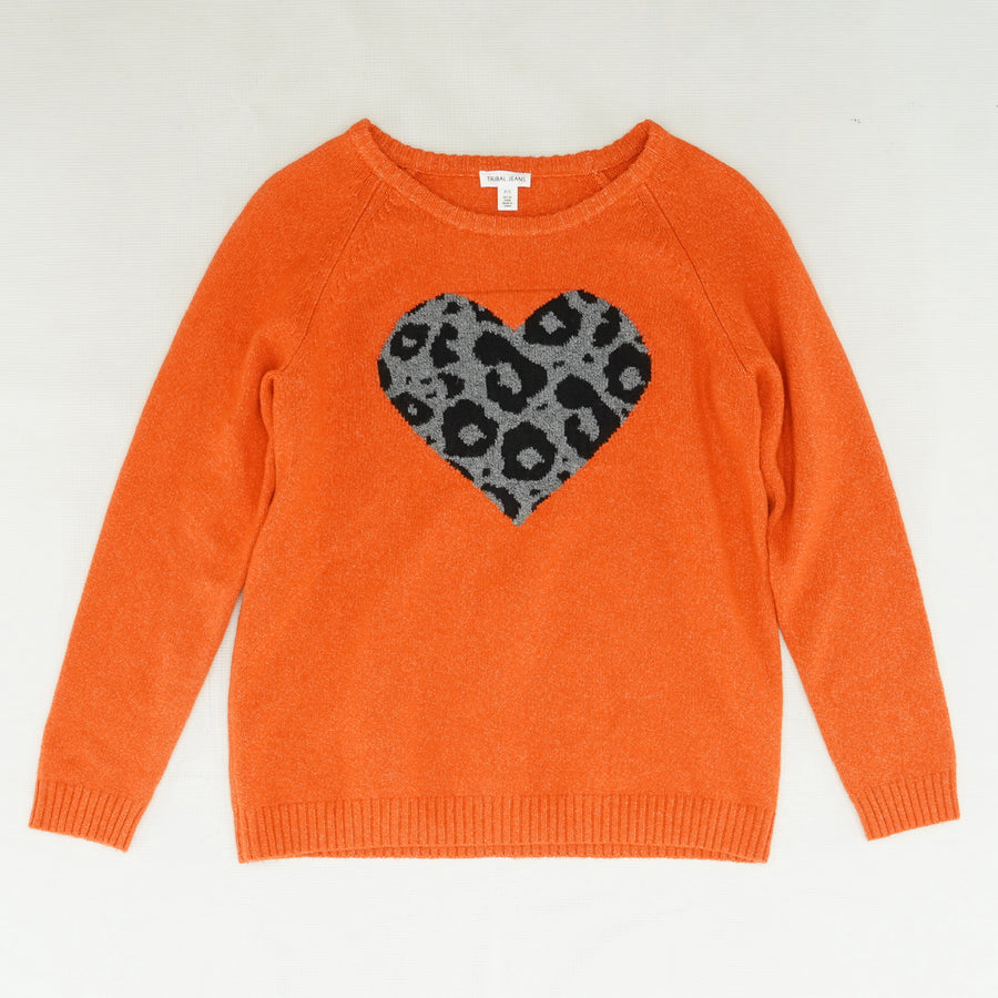 Leopard Heart Autumn Sky Sweater - Size S/P