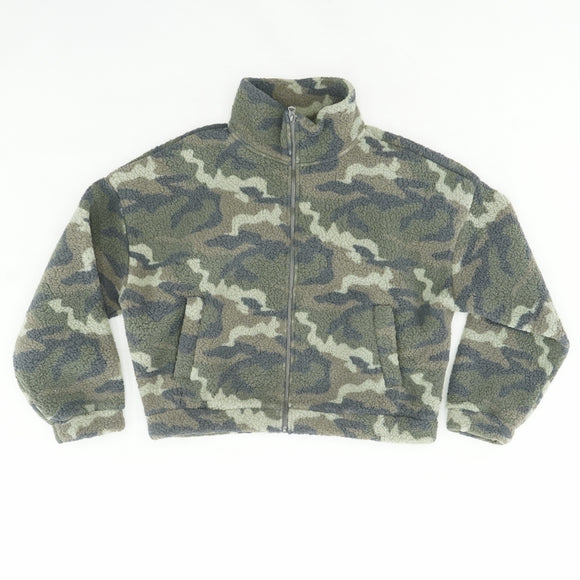 Camo Full Zip Fleece Jacket Size L