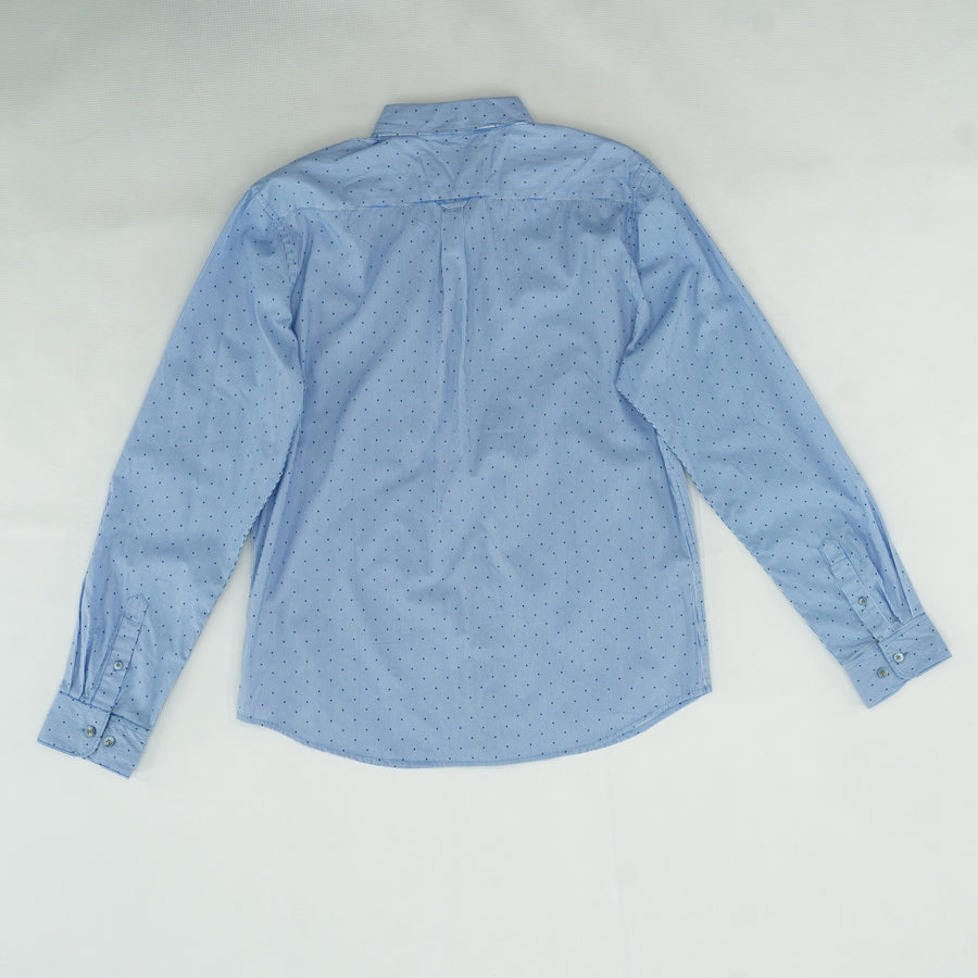 Blue Polka Dot Button Down Shirt Size L