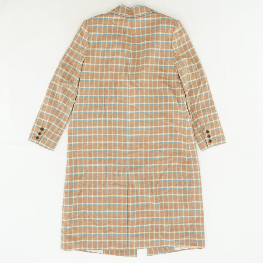 Single-Button Plaid Trench Coat