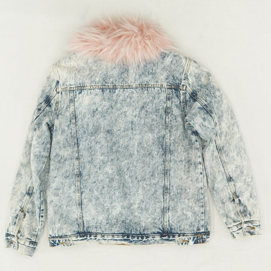 Faux Fur Collar Denim Jacket Size M