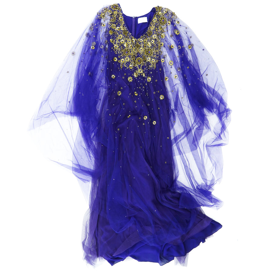 Purple Embellished Tulle Gown Size S