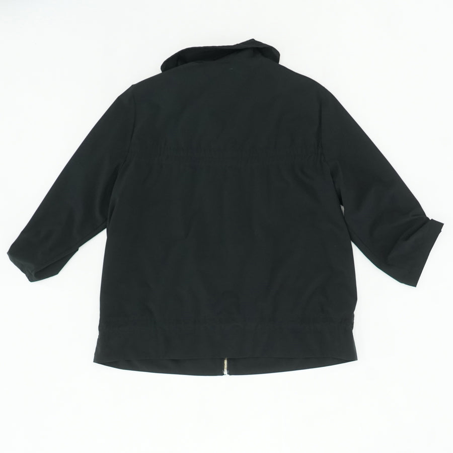 Black Solid Zip Up Jacket Size 2