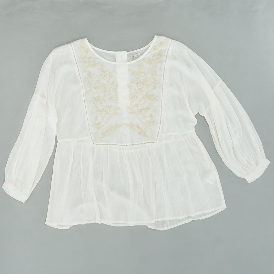Ivory Embroidered Button Back Blouse Size M