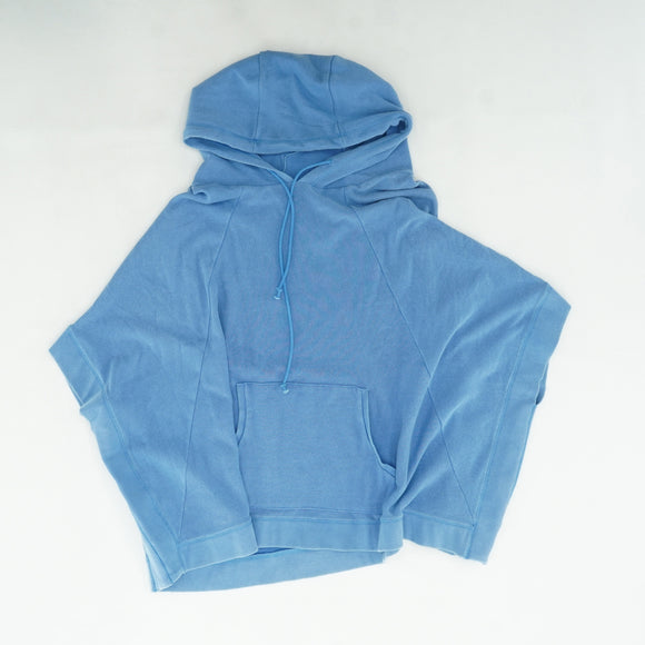 Blue Hooded Sweater Poncho Size M