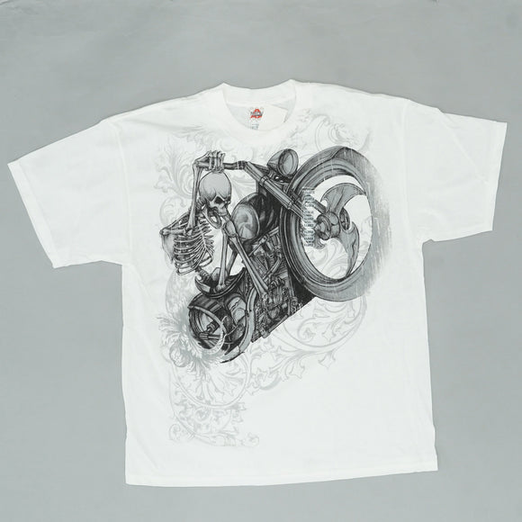 Skeleton On Motorcycle Hybrid Tee Size XL