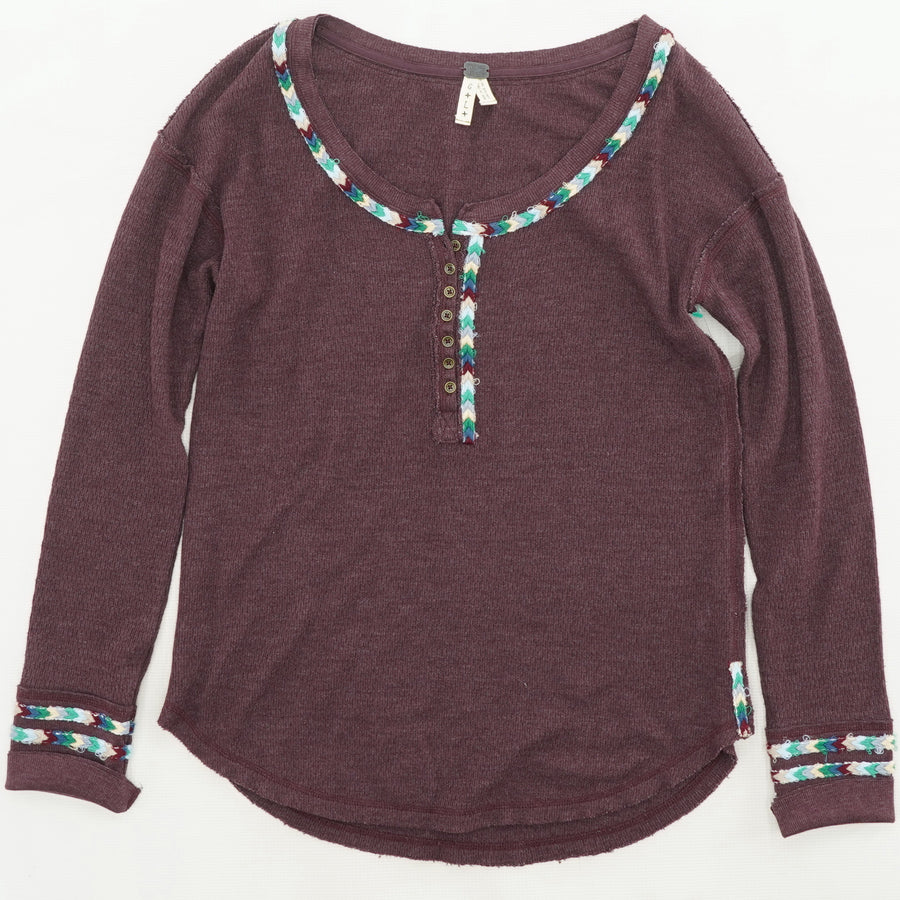 Wine Aztec Button Detail Thermal Top - Size L