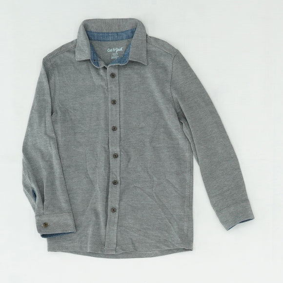 Gray Long Sleeve Button Down Shirt Size S