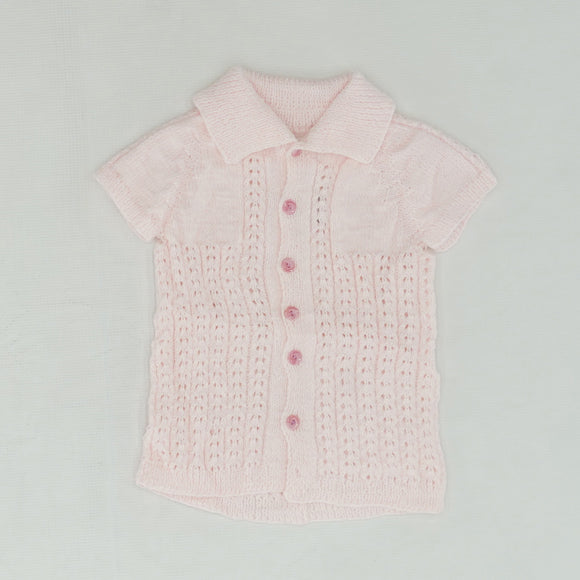 Pink Hand Stitched Crochet Button Down Cardigan Size S