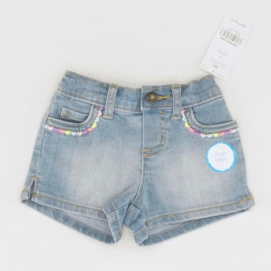 Denim Embroidered Pockets Shorts Size 6 Months