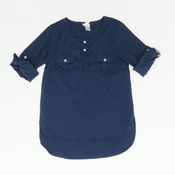 Navy Solid Blouse Size 10