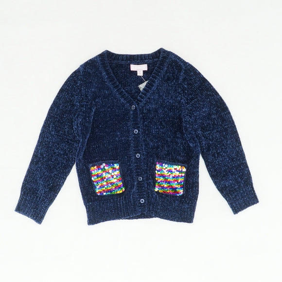 Navy V-Neck Sweater With Sequin Pockets Size 4T