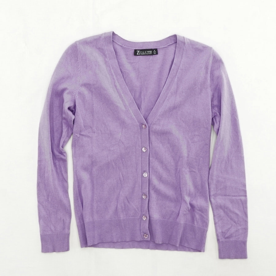 Purple Button Up Sweater Size M