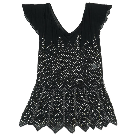 Embellished V-Neck Mini Dress Size 40