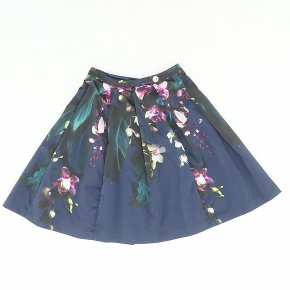 Cascading Floral Pleated Full Skirt Size 0