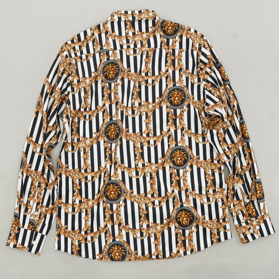 Striped Gold Accent Button Down - Size L