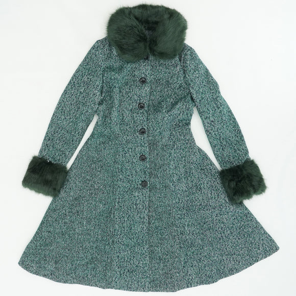 Darling Jade Herringbone Coat Size S
