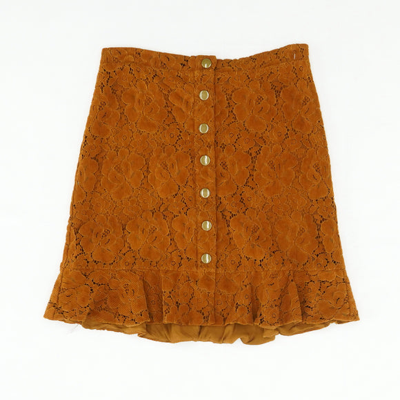 Rust Corduroy Flower Skirt Size 10