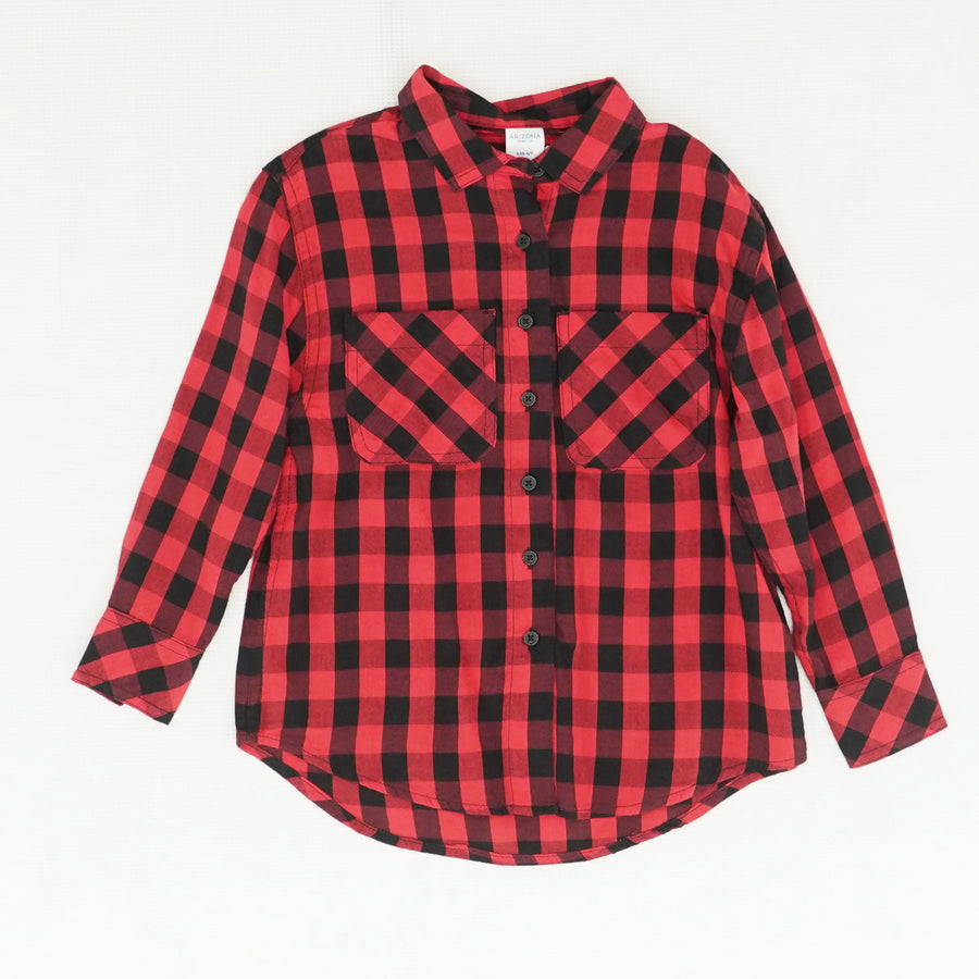 Plaid Red Long Sleeve Button Up Size XXS