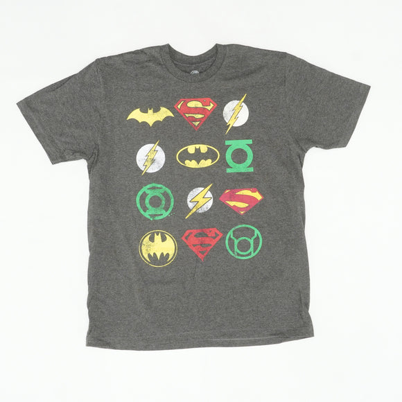 Super Heros Logos Graphic Tee Size L