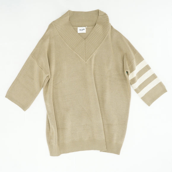 Tan V-Neck Sweater Size S
