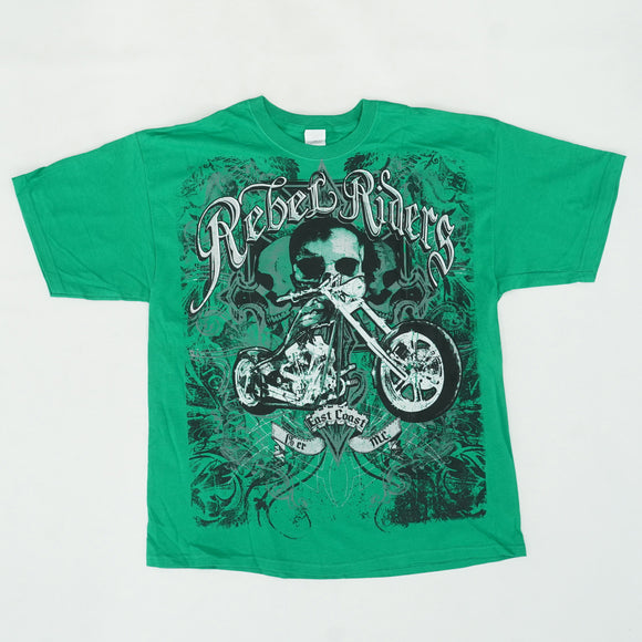 Rebel Riders Motorcycle Skull Graphic Tee Size XL