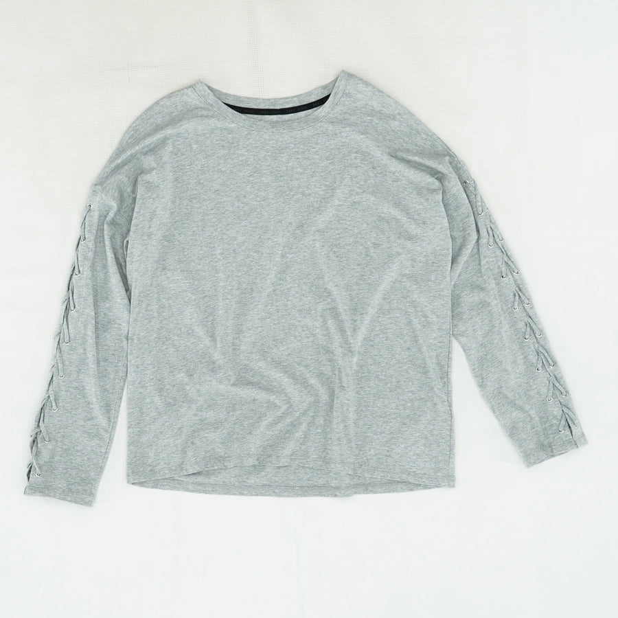 Gray Lace Up Sleeve Blouse Size M