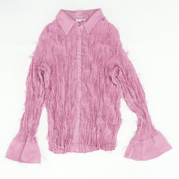 Mauve Fringed Frill Bell Sleeve Blouse Size 3XL