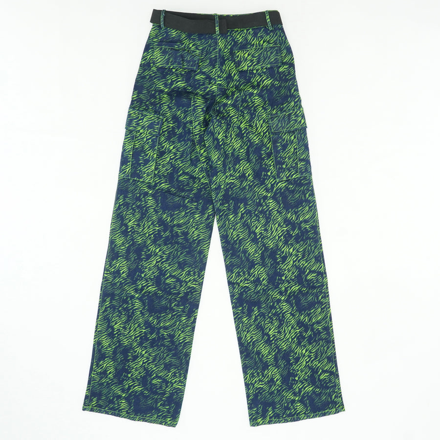 Neon Green And Navy Zebra Print Pants Size L