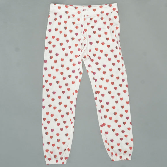 Ivory PJ Pant With Hearts Size M