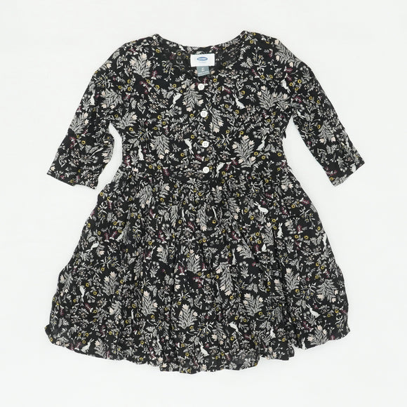 Black Floral 3/4 Sleeve Dress Size 5T