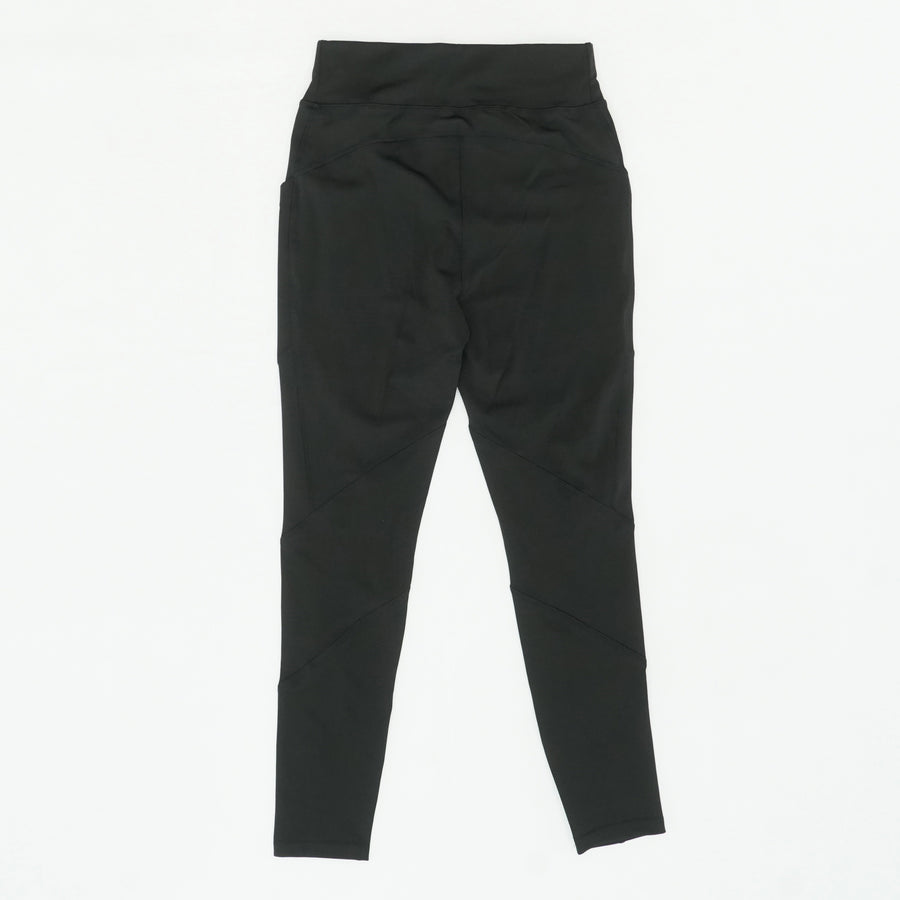 Black Solid Leggings With Side Pockets Size M