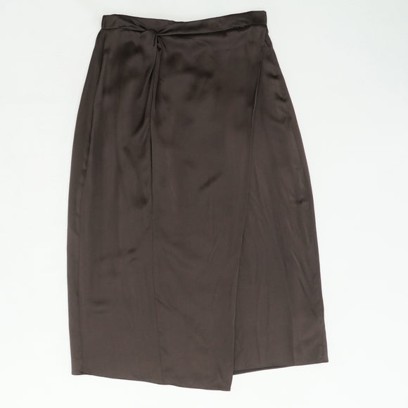 Paneled Knot-Front Silk Midi Skirt Size L