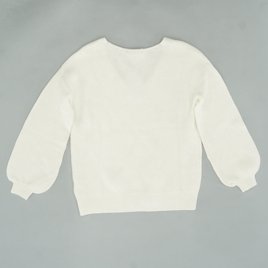 White Margot V-Neck Sweater Size 6