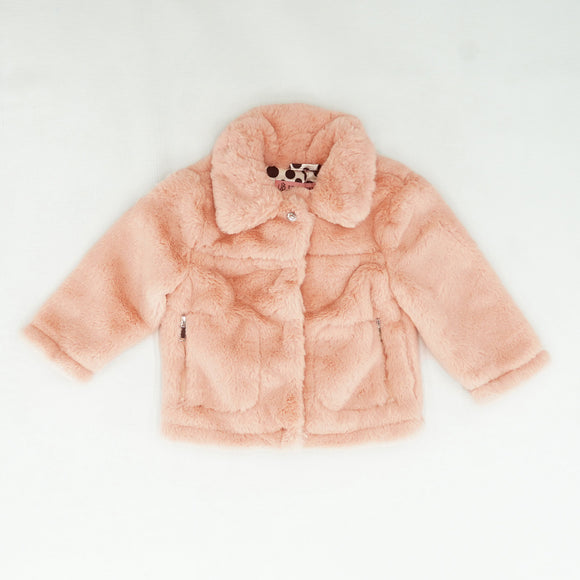 Faux Fur Jewel Snap Neck Jacket Size 24 Months