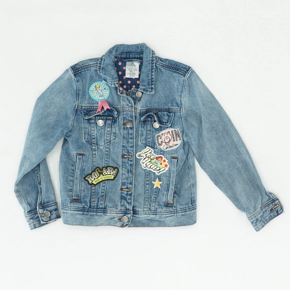 Denim Jacket With Patches Size 5/6