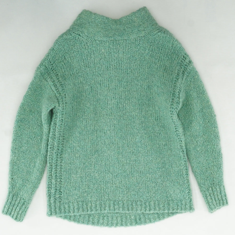 Green Solid Knit Sweater With Tie Neck Size M/L