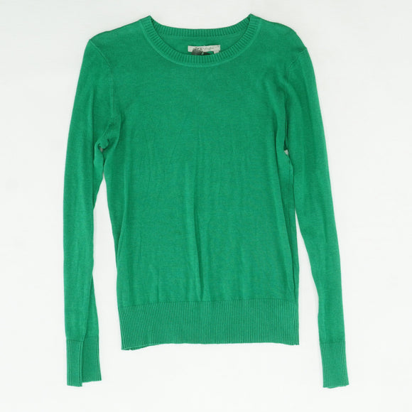 Green Solid Crew Neck Sweater Size L