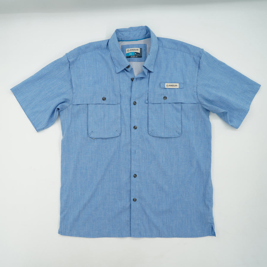 Relaxed Fit Short Sleeve Button Down Size M