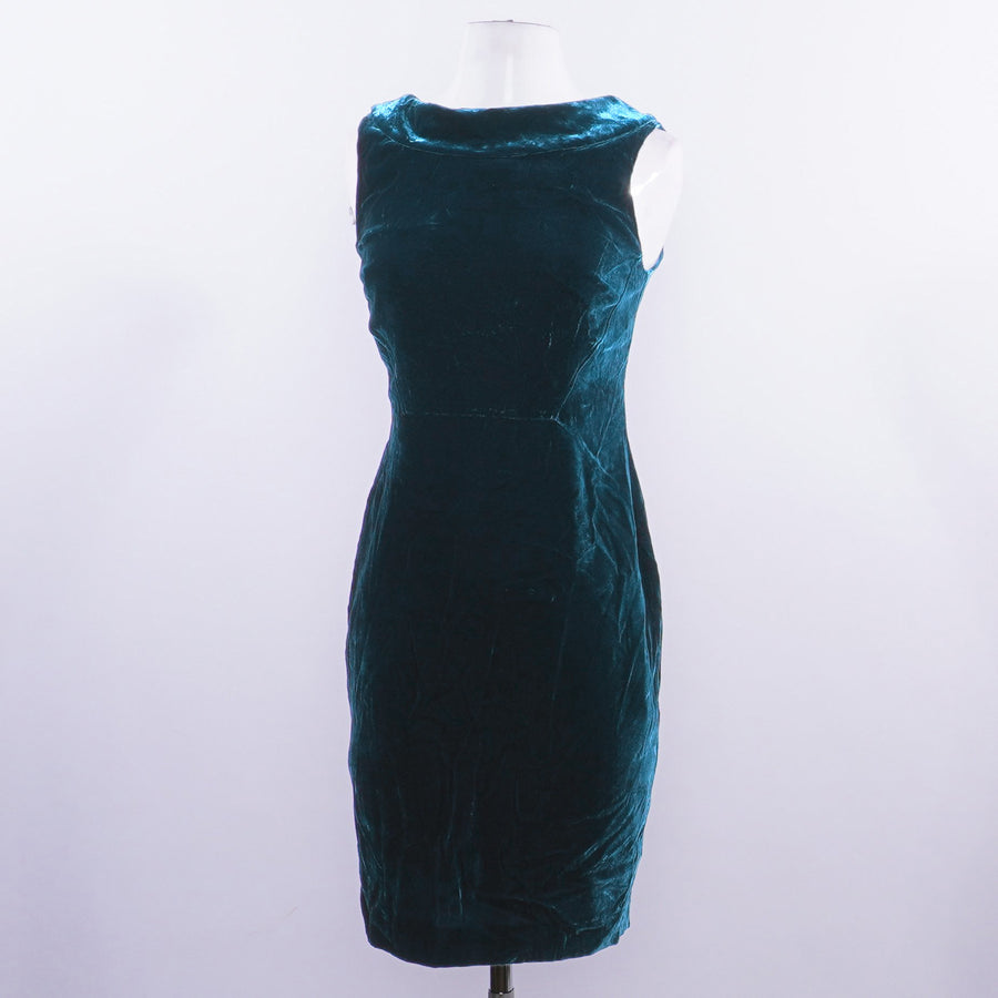 Velvet Seam Detail Dress in Dark Teal - Size 4