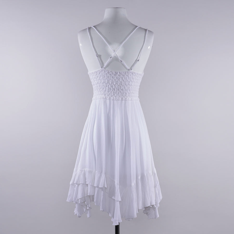 Adella Mini Slip Dress in White - Size M