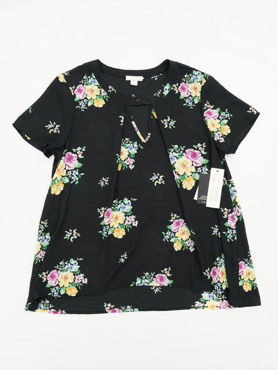 Casual Floral Short Sleeve Blouse Size XL
